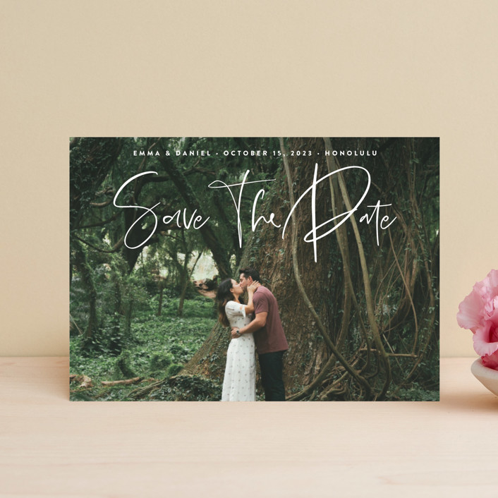 """""""Natural Script"""" - Save The Date Postcards in Moonstone by Nicole Barreto."""