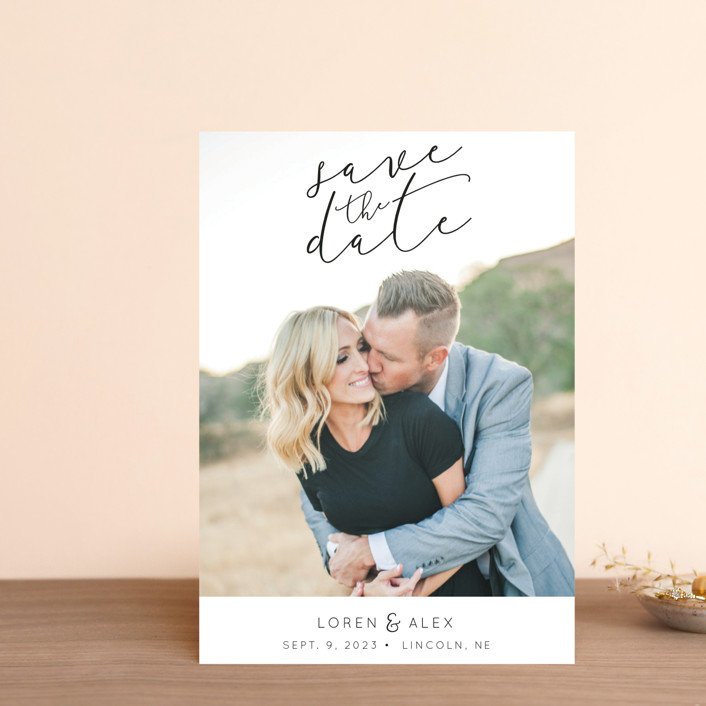 """""""Honest Love"""" - Save The Date Postcards in Midnight by Christine Taylor."""