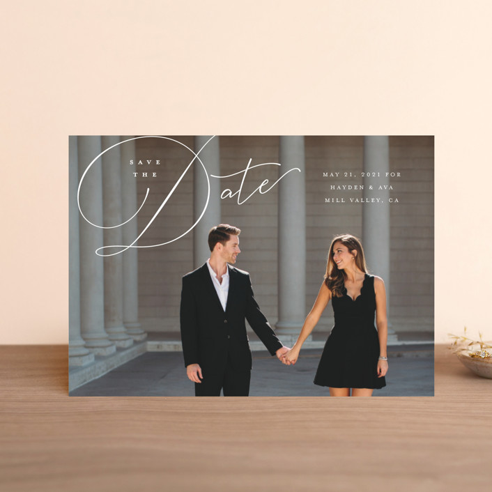 """""""Hold On"""" - Save The Date Postcards in Linen by Carolyn MacLaren."""
