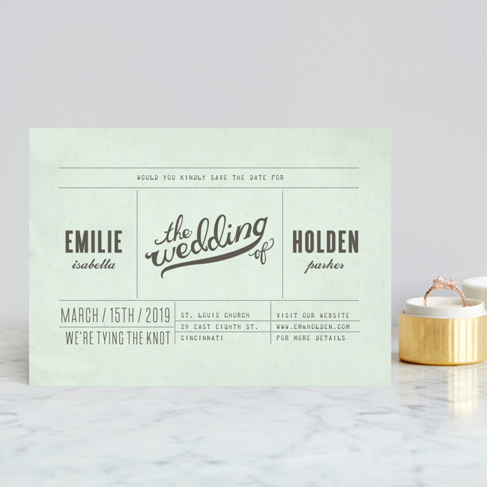 """""""Mr. Laurence"""" - Bold typographic, Modern Save The Date Postcards in Mint by Moglea."""