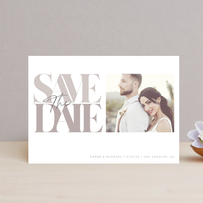 """""""Serifs"""" - Save The Date Postcards in Stone by GeekInk Design."""