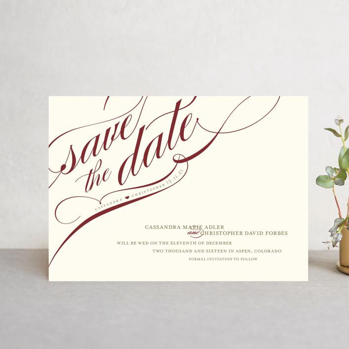 """Winter Flourish"" - Save The Date Postcards in Crimson by annie clark."