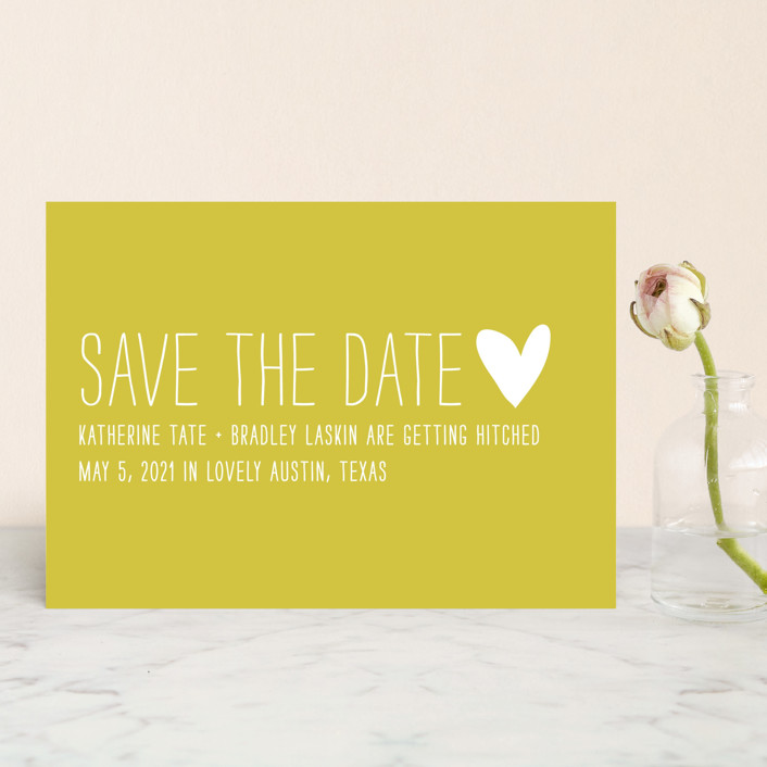 """Passing Notes"" - Whimsical & Funny, Simple Save The Date Postcards in Mustard by annie clark."