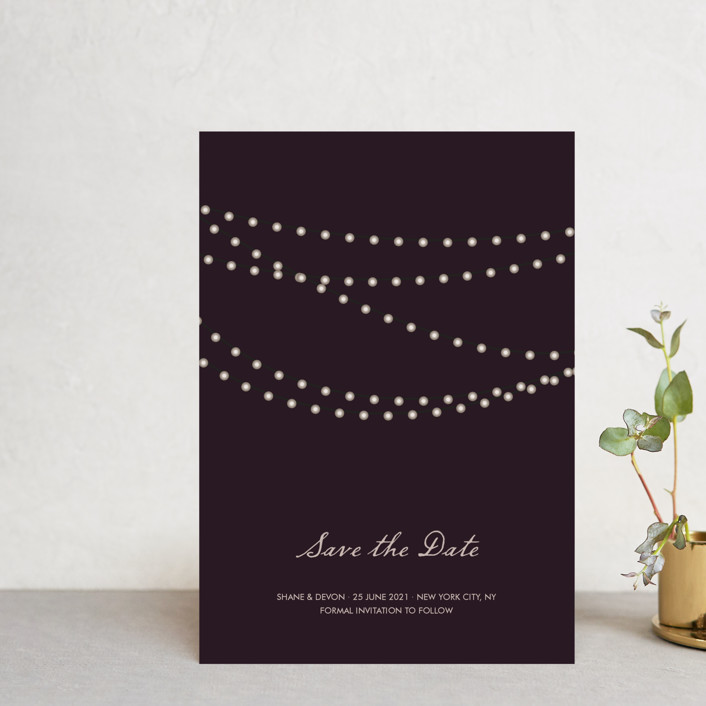 """""""Midnight Vineyard"""" - Rustic Save The Date Postcards in Eggplant by Design Lotus."""