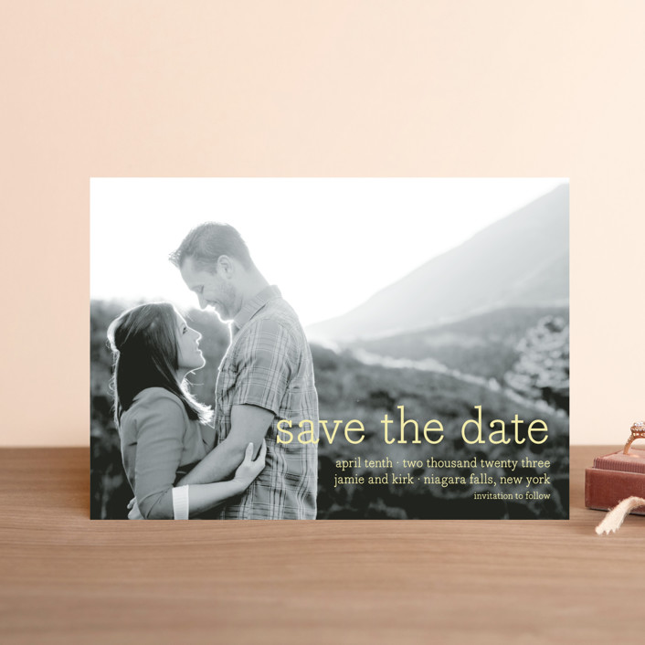 """Simply in Love"" - Full-Bleed Photo, Simple Save The Date Postcards in Blizzard by annie clark."