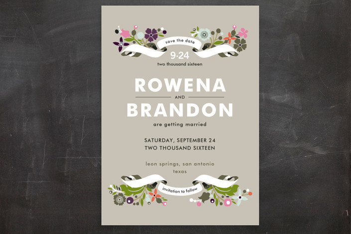 """Banner and Branches"" - Classical, Floral & Botanical Save The Date Postcards in Taupe by Alethea and Ruth."