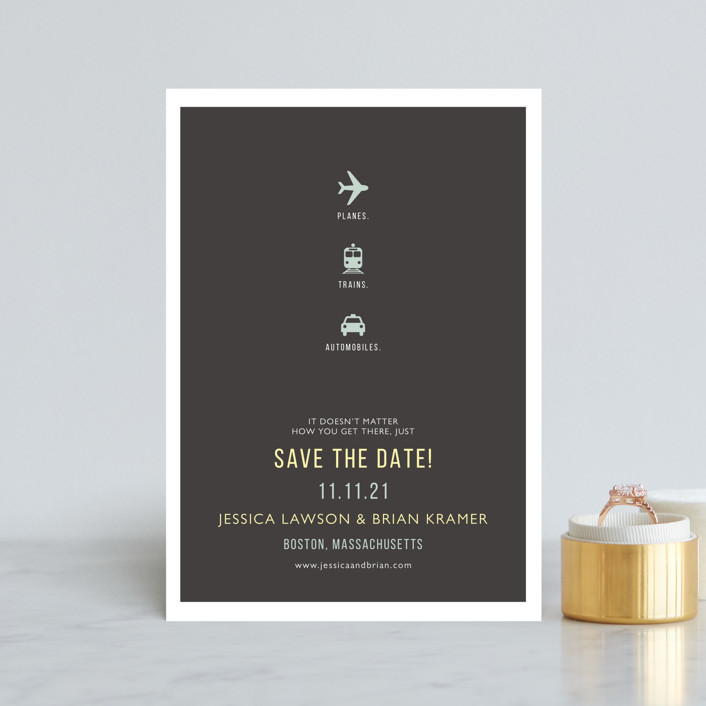 """""""Planes Trains Automobiles"""" - Whimsical & Funny, Modern Save The Date Postcards in Charcoal by Fig and Cotton."""
