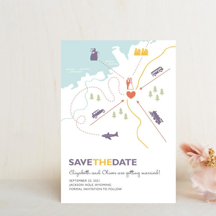 """""""Destination"""" - Save The Date Postcards in Lilac Haze by leslie hamer."""