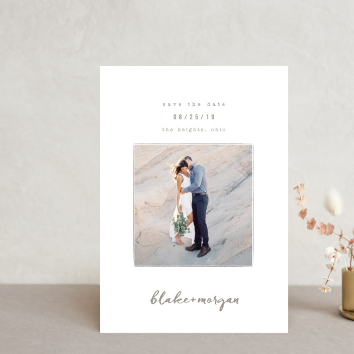 """Understated"" - Save The Date Postcards in Warm Gray by Robin Ott."