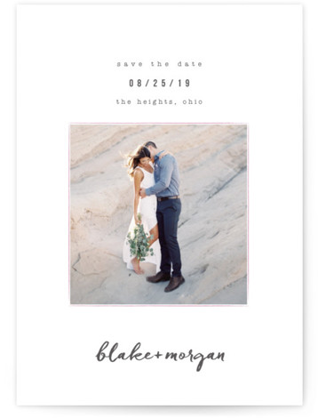 This is a portrait simple and minimalist, pink Save the Dates by Robin Ott called Understated with Standard printing on Signature in Postcard Flat Card format. Showcase a favorite engagement photo with a modern save the date