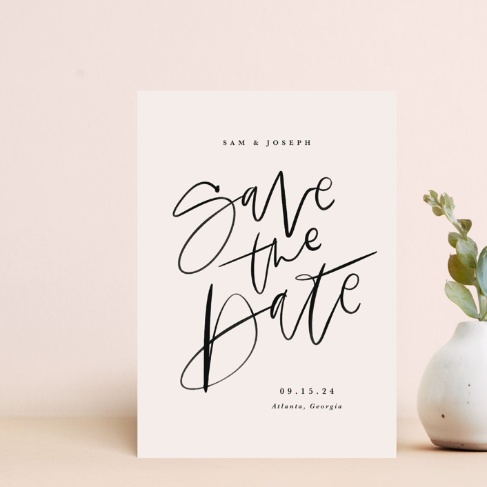 """Brushpen"" - Save The Date Postcards in Cream by Kristen Smith."