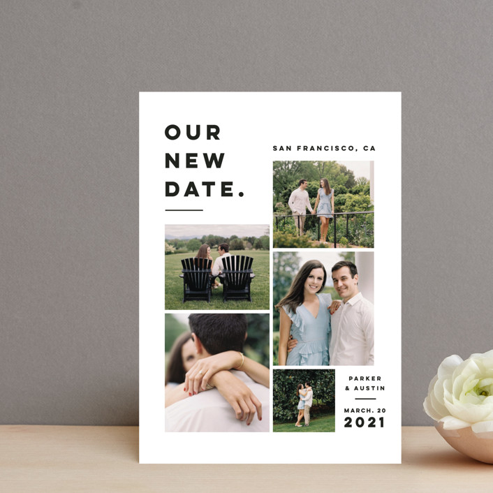 """""""Blocked Date"""" - Save The Date Postcards in Fog by Pink House Press."""