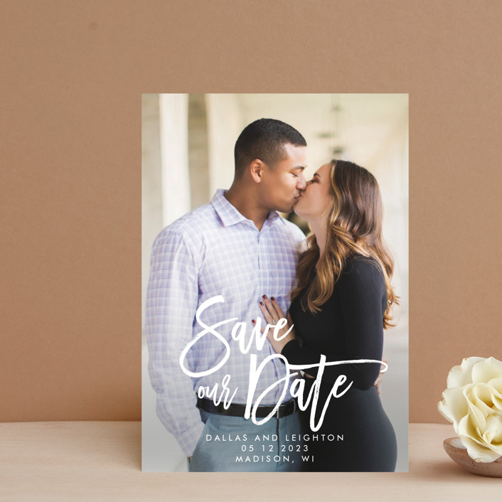 """""""Scrawled"""" - Modern Save The Date Postcards in Pearl by Catherine Culvenor."""