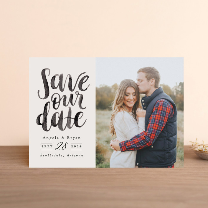"""""""Brushed Date"""" - Save The Date Postcards in Sand by Pink House Press."""