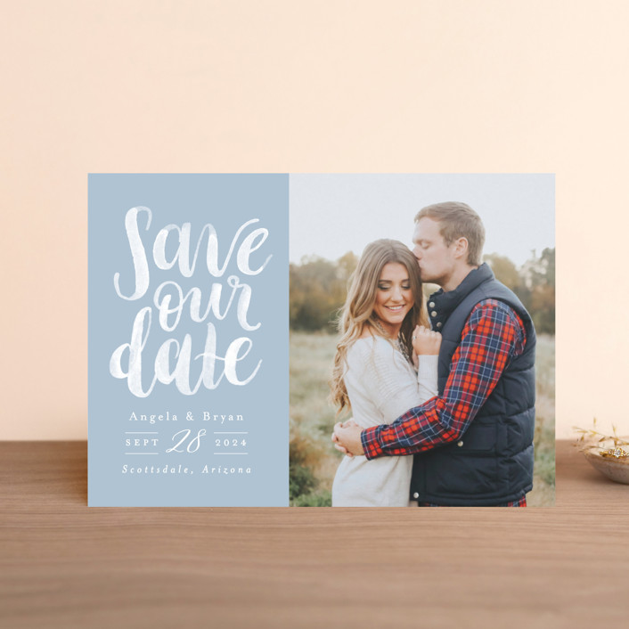 """Brushed Date"" - Save The Date Postcards in Sand by Pink House Press."