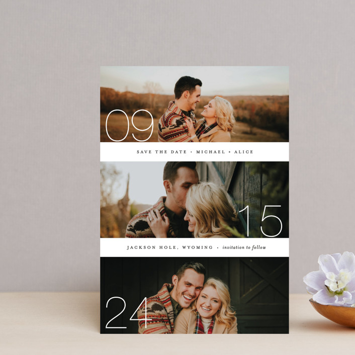 """""""Moments"""" - Save The Date Postcards in Cotton by Kimberly FitzSimons."""
