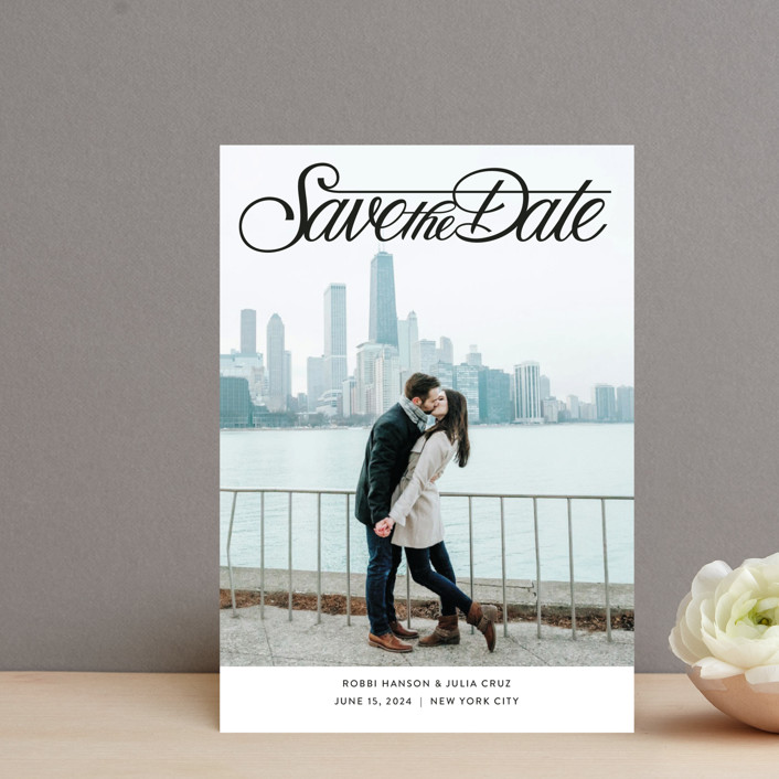 """""""Lettering Crossbar"""" - Save The Date Postcards in Midnight by Jill Means."""