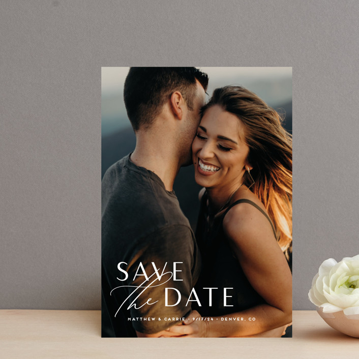 """""""Eloquent"""" - Save The Date Postcards in Pearl by Jennifer Postorino."""