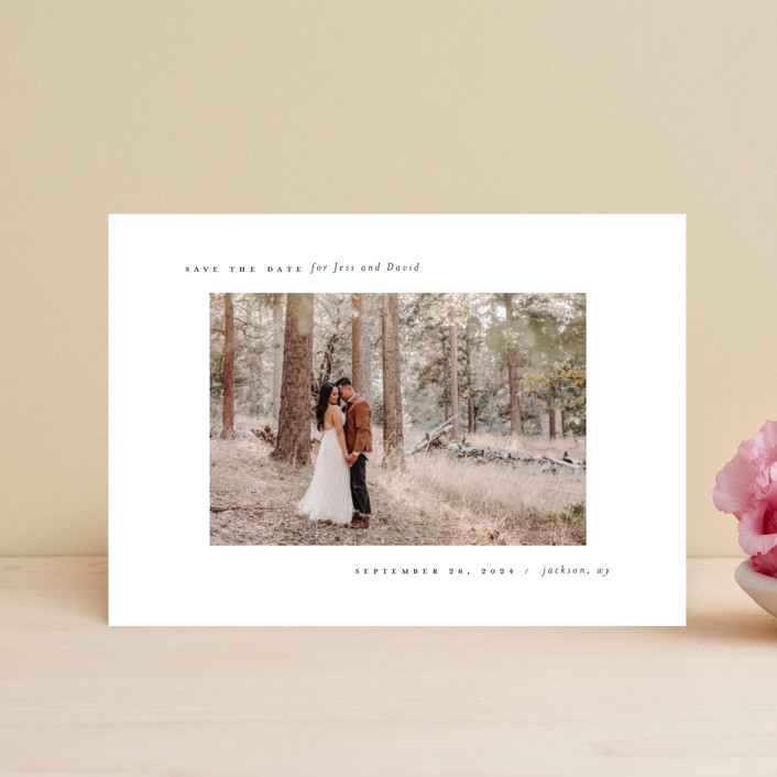 """""""True Minimalist"""" - Save The Date Postcards in Moon by Heather Cairl."""