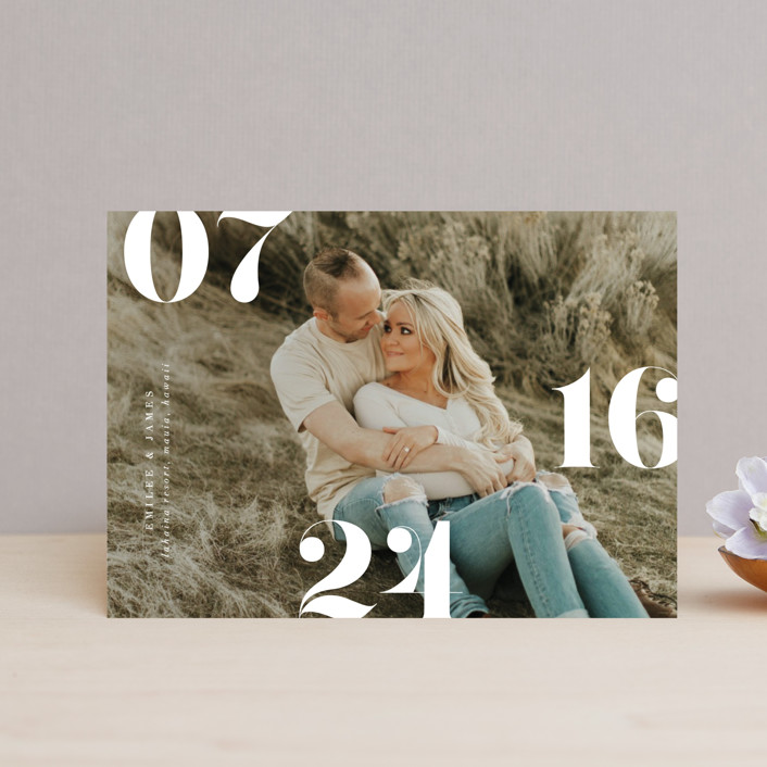 """""""Elevate"""" - Save The Date Postcards in Snow by Itsy Belle Studio."""