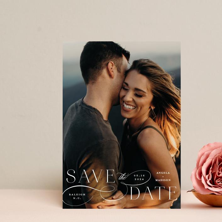 """Flourish"" - Save The Date Postcards in Vanilla by Ashley Rosenbaum."
