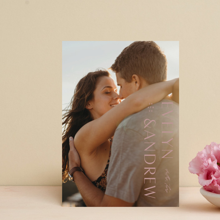 """Sideline"" - Save The Date Postcards in Pure by Lauren Chism."
