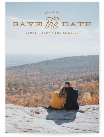 This is a landscape, portrait modern, brown Save the Dates by Phrosne Ras called Heading with Standard printing on Signature in Postcard Flat Card format. A full bleed design in bold type.