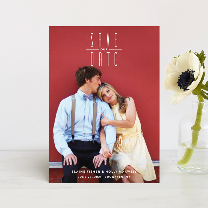 """""""Uptown Fun"""" - Save The Date Postcards in Powder by Up Up Creative."""
