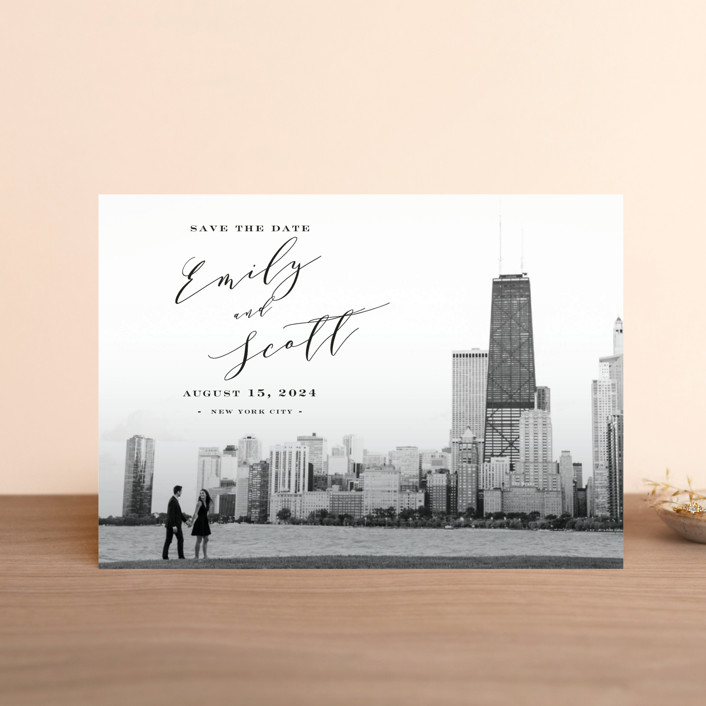 """""""New York Classic"""" - Save The Date Postcards in Midnight by Nicoletta Savod."""