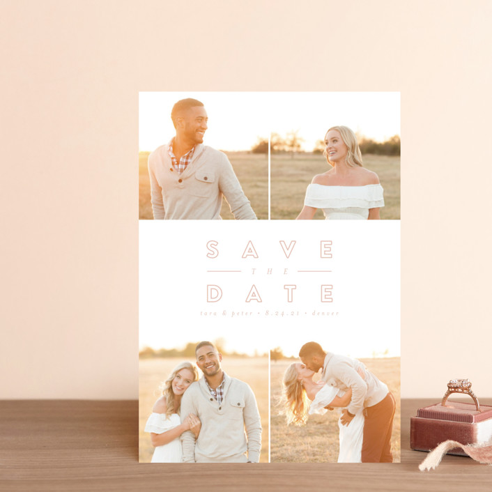 """""""Golden Love"""" - Save The Date Postcards in Golden by peony papeterie."""