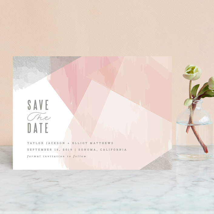"""delicate stonework"" - Save The Date Postcards in Peach by Karidy Walker."
