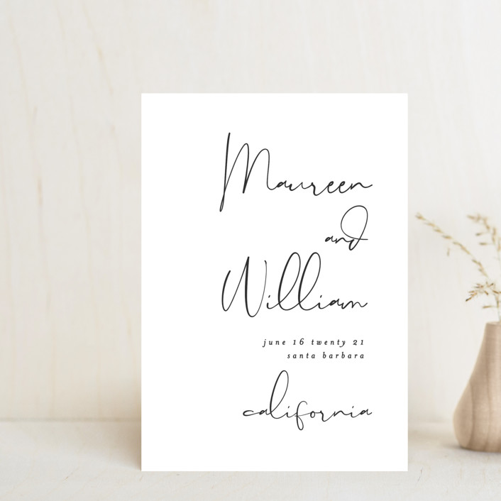 """""""A few words"""" - Save The Date Postcards in Blush by Susan Brown."""