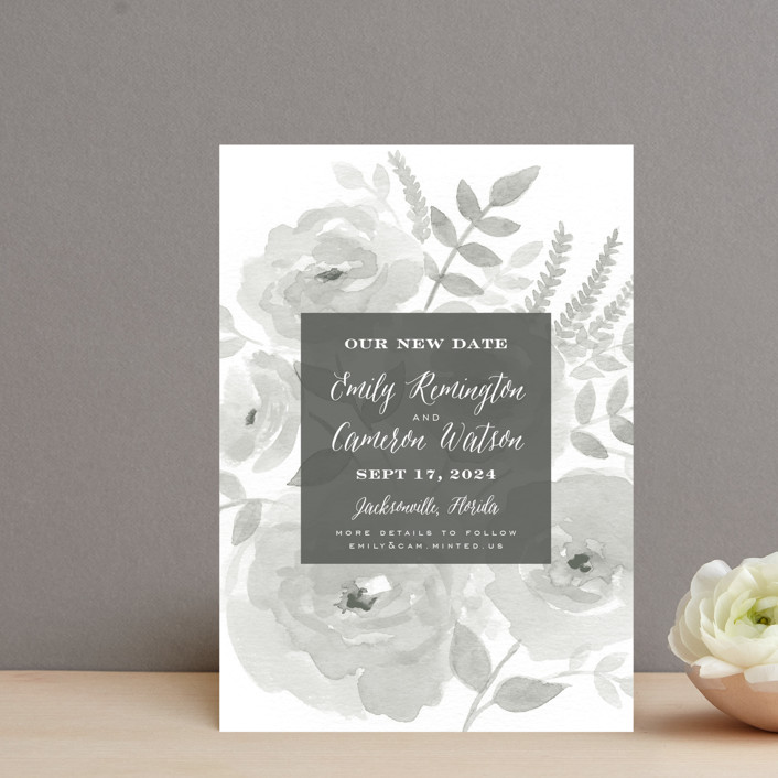 """Watercolor Floral"" - Save The Date Postcards in Fog by Jill Means."