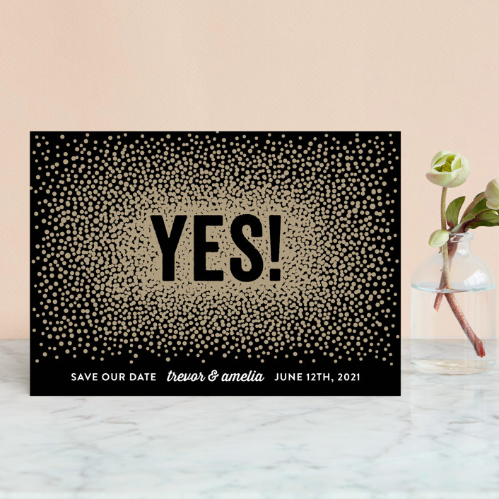"""""""Glittering Yes!"""" - Save The Date Postcards in Noir by Hooray Creative."""