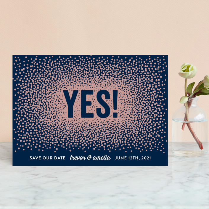 """Glittering Yes!"" - Save The Date Postcards in Navy by Hooray Creative."