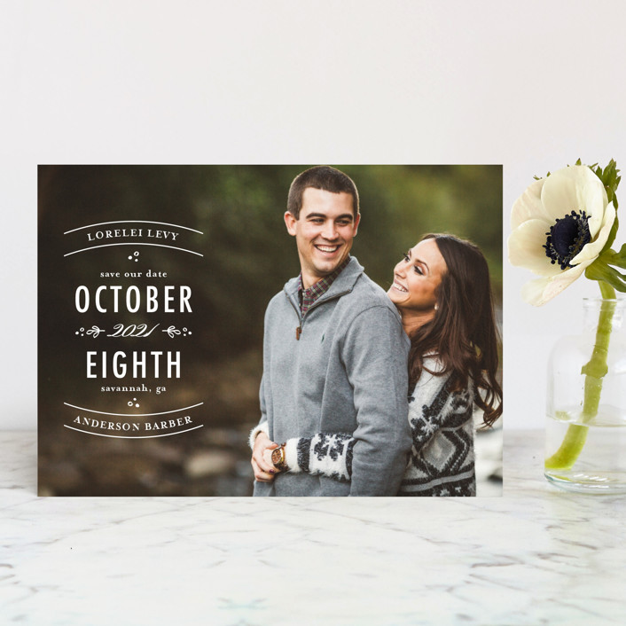 """""""Stacked Type"""" - Modern Save The Date Postcards in Pearl by lena barakat."""