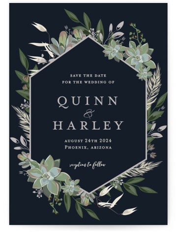 This is a portrait botanical, blue Save the Dates by Susan Moyal called Succulent Surround with Standard printing on Signature in Postcard Flat Card format. This wedding invitation features an array of succulents and greenery