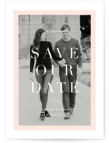 This is a colorful save the date postcard by Everett Paper Goods called Modernist Minimal with standard printing on signature in postcard.