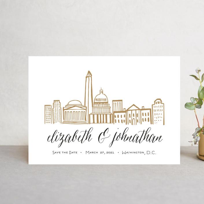 """Skyline - Washington DC"" - Save The Date Postcards in Gold Coast by Abby Munn."