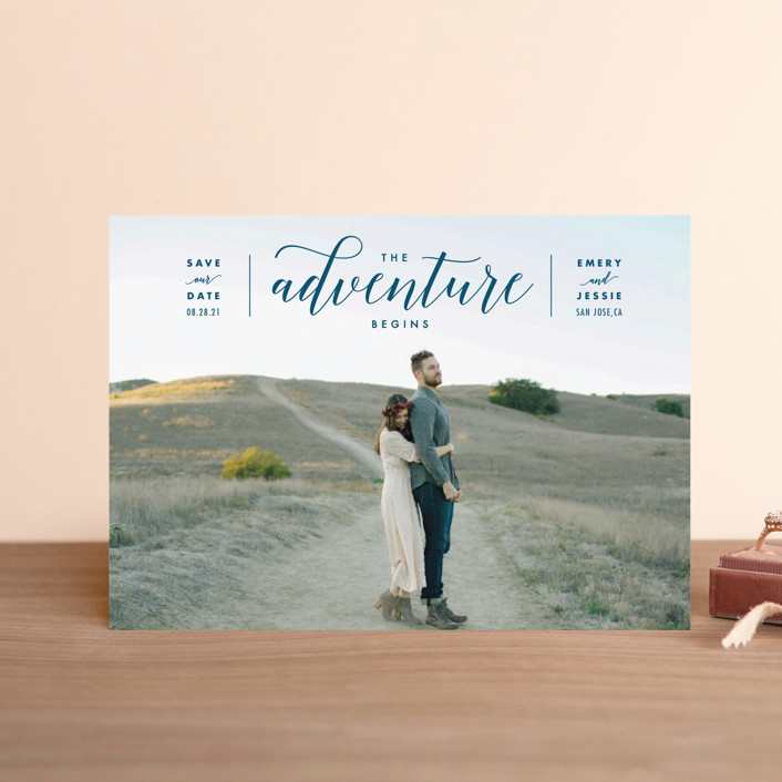 """The Adventure Begins"" - Modern Save The Date Postcards in Classic by Kelly Schmidt."