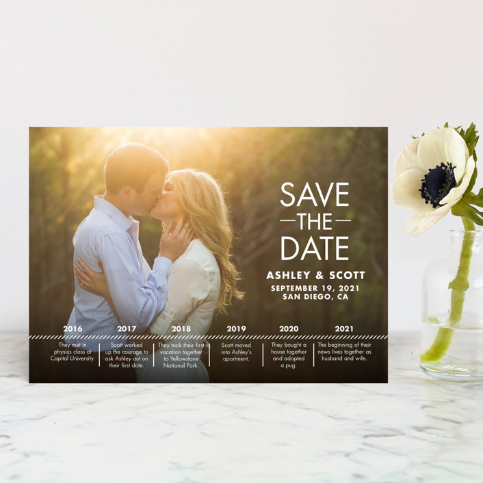 """""""Our Timeline"""" - Modern Save The Date Postcards in Wedding Dress by Andi Pahl."""