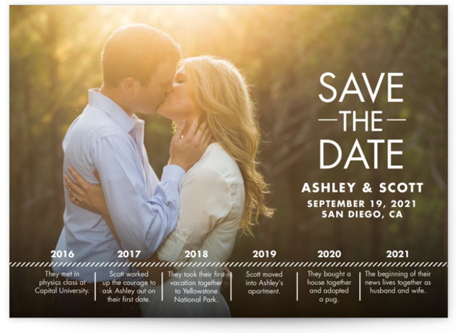 This is a landscape modern, white Save the Dates by Andi Pahl called Our Timeline with Standard printing on Signature in Postcard Flat Card format. This save the date photo card features a timeline of highlights in the couple's lives ...