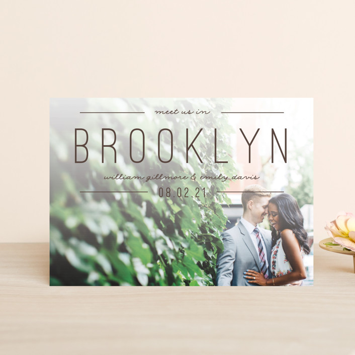 """Meet Us"" - Save The Date Postcards in Khaki by Pixel and Hank."