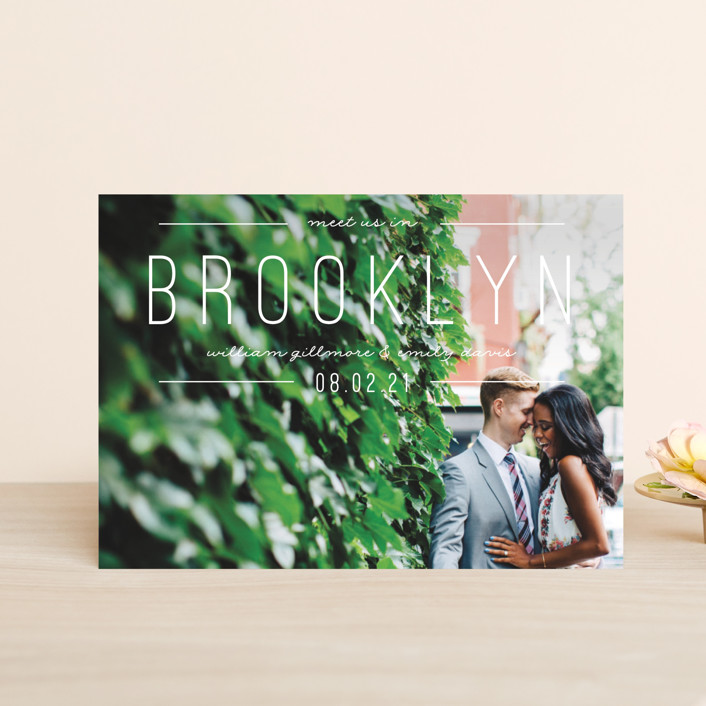 """""""Meet Us"""" - Save The Date Postcards in Linen by Pixel and Hank."""