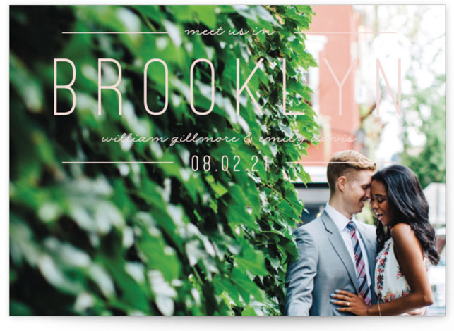 This is a landscape, portrait bold and typographic, pink Save the Dates by Pixel and Hank called Meet Us with Standard printing on Signature in Postcard Flat Card format. Simple type highlight your destination event.