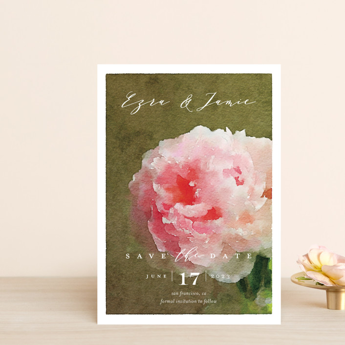 """""""Peony"""" - Save The Date Postcards in Pink Peony by Eric Clegg."""