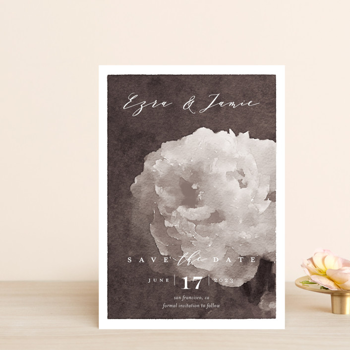 """Peony"" - Save The Date Postcards in Natural by Eric Clegg."