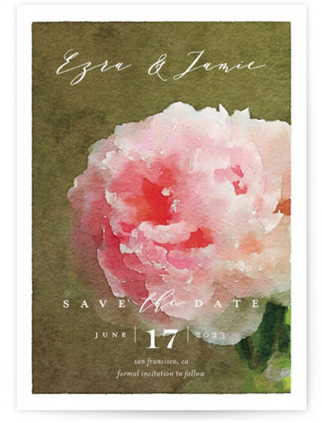 This is a portrait botanical, pink Save the Dates by Eric Clegg called Peony with Standard printing on Signature in Postcard Flat Card format. This Save the Date card features an elegant watercolor floral background and a handwritten script.