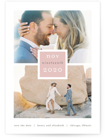 This is a landscape, portrait modern, pink Save the Dates by Stacey Meacham called Frame Up with Standard printing on Signature in Postcard Flat Card format. A strong grid with a clean box for the date give the couple and ...