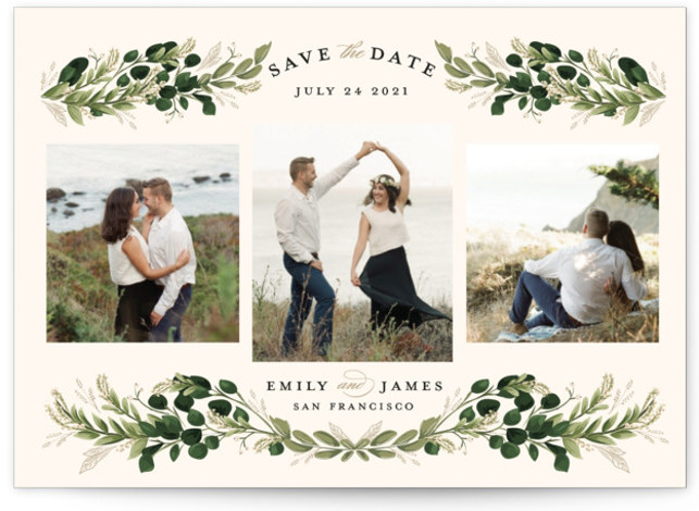 This is a botanical, green, white Save the Dates by Susan Moyal called Greenery Wisp with Standard printing on Signature in Postcard Flat Card format. A multi photo design with greenery vines